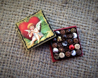 Miniature Box of Chocolates 12th Scale Polymer Clay Valentine's Day Cupid