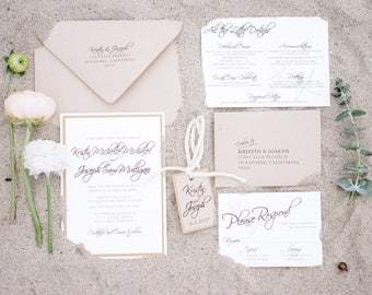 Rustic Beach Wedding Invitation - SAMPLE