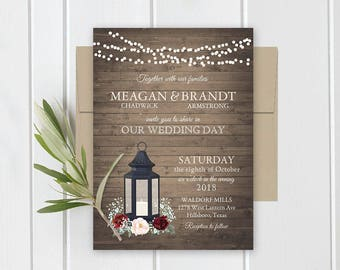 Wedding Invitation Printable Lantern Burgundy Florals Rustic Wood Country Wedding Invitations RSVP Card Set Digital or Printed Template Kit