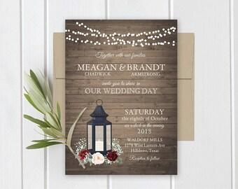 wedding invitation printable lantern burgundy florals rustic wood country wedding invitations rsvp card set digital or - Lantern Wedding Invitations