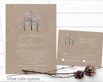 Winter Wedding Invitation Template Christmas Wedding Rustic Winter Kraft Wedding Birch Tree Snowflakes snowy wedding invitations tree