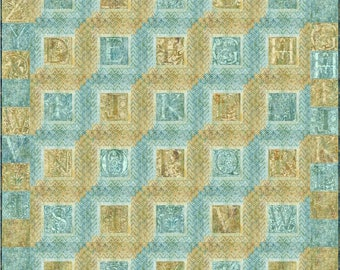 Log Cabin Monogram Quilt Kit, 4908-0, alphabet lap quilt kit, blue and beige lap quilt kit