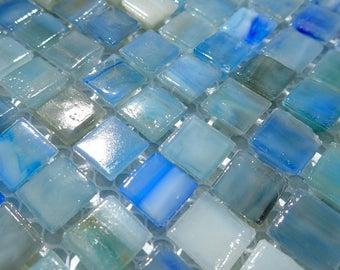 Mixed Blue Glass Tiles -  3/8 inch Mosaic Tiles - Approximately 1 cm - 100 tiles - Blue Mini Mosaic Tiles