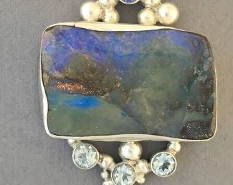Australian boulder opal with tanzanite and topaz