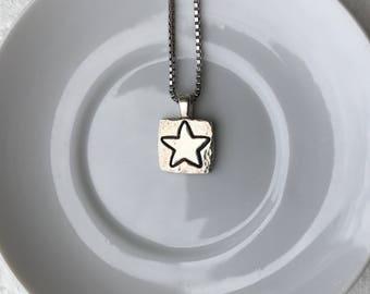 Fine Silver Star Pendant with Sterling Silver Box Chain