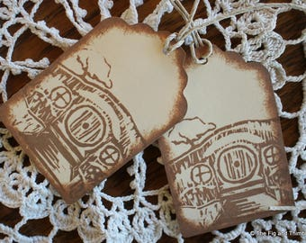 Hobbit Tolkien Tags - Set of Seven from Hand Carved Stamp