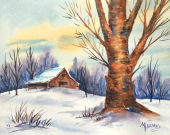 Watercolor of Snow, Barn and Tree - Original Painting Martha Kisling