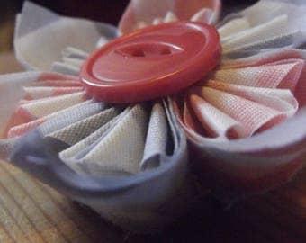 Pink, White, and Grey Chevron Fabric Handmade Fabric Origami Hair Accessory Barrette Hair Clip