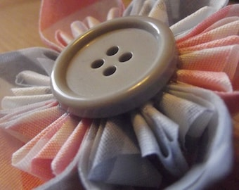Pink, White, and Grey Chevron Fabric Handmade Fabric Origami Brooch Pin
