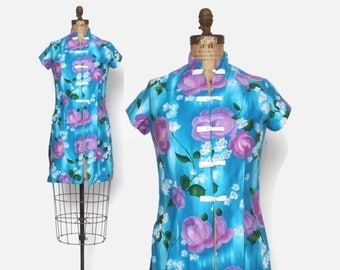 Vintage 50s HAWAIIAN DRESS / 1950s Floral Print Cotton Over Dress Layering Top S - M