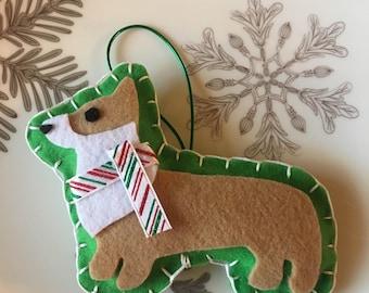 Welsh corgi christmas ornament