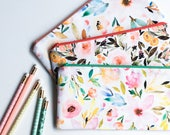 Floral Personalized Pencil Pouch, Best Friend Gift, Zipper Pouch, Pencil Case, Floral Cosmetic Bag, Personalized Gift for Women, Makeup Bag,