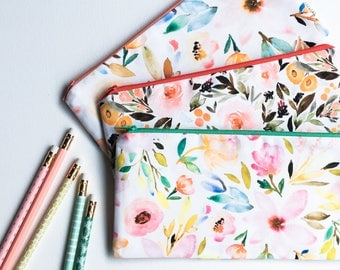 Personalized Pencil Pouch, Best Friend Gift, Zipper Pouch, Pencil Case, Floral Cosmetic Bag, Personalized Gift for Women, Makeup Bag,