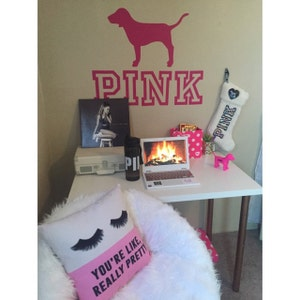 Victoria S Secret Pink Logo With Dog Vinyl Wall Decal