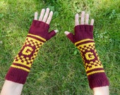 "Harry Potter Gryffindor House Armwarmers - Fingerless Gloves - Wristwarmers - Red & Gold Pattern Hand Knit Fingerless Mittens with ""G"" Logo"