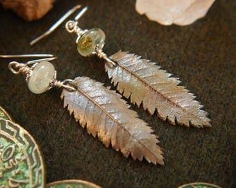 Silver Rowan Leaf Earrings with Prehnite Beads OOAK