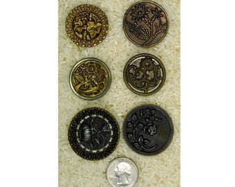 Antique Buttons Lot 6pcs Large Metal Flower Picture Buttons Vintage Sewing Collectable  rare button collection   B624