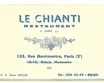 Vintage 1950's French Restaurant Card - Le Chianti - Paris, France