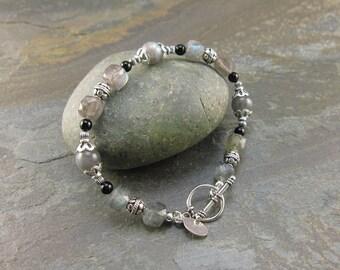 SALE! Transformation & Strength Bracelet with Labradorite and Black Onyx (1633)
