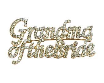 Unik Occasions Grandma of the Bride Rhinestone Pin in Gold