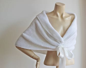 White Bridal Cape- Hand Knit Winter Shrug,Lace Cape-Wool Shoulder Wrap, Ready to Ship-Vegan Cape