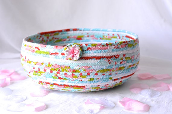 Decorative Picnic Basket, Handmade Fabric Basket, Modern Red and Aqua Gift Basket, Lovely Red and Turquoise Fruit Bowl, Picnic Basket