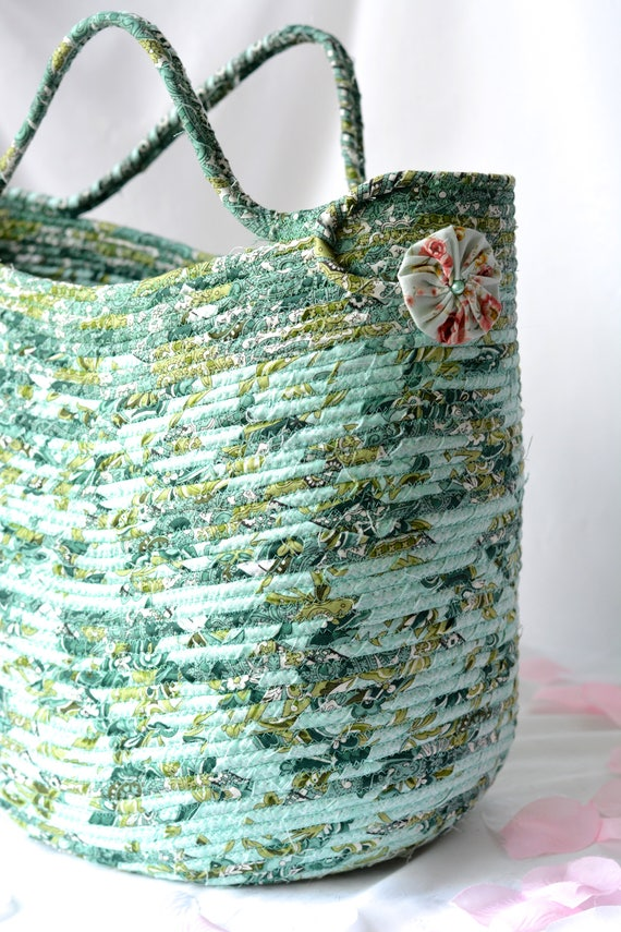 Green Tote Bag, Handmade Coiled Fabric Basket, Green Moses Basket, Lovely Storage Organizer, Knitting Project Bag,  Gift Basket