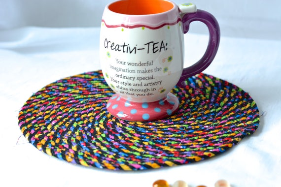 Kid Trivet Set, Handmade Rainbow Birthday Gift, 2 Quilted Trivets, 2 Fun Hot pads, Quilted Mug Rug Set, Table Topper, Table Runner