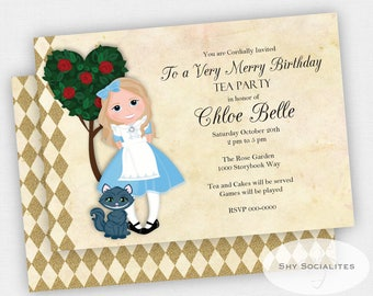 ALICE IN WONDERLAND Invitation | Tea Party, Mad Hatter, Cheshire Cat, Harlequin, First Birthday, Any Birthday | Instant Download