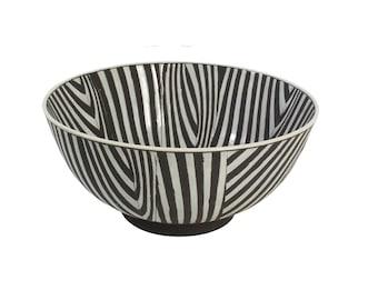 Ceramic Bowl - Black & White Stripes