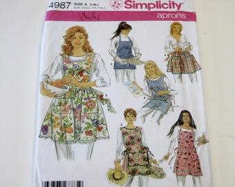 Simplicity 4987: Misses' Apron Pattern Sizes S,M,L (UNCUT)