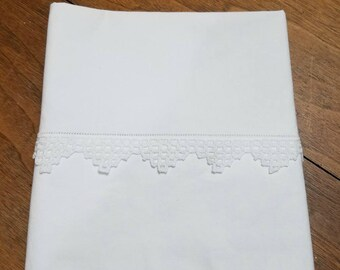 Vintage White Lace Trimmed Pillowcase