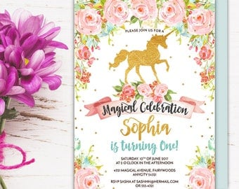 Unicorn Birthday Party Invitation, Magical Whimsical Enchanting Gold Glitter Floral Unicorn Printable Invitation, Fairytale Party Invitation