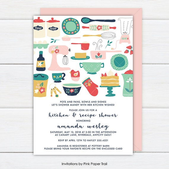 Kitchen bridal shower invitation and recipe card with back design il570xn filmwisefo