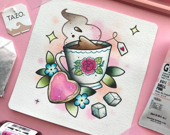 Teacup and Biscuit Tattoo Flash Watercolor PRINT by Michelle Kent