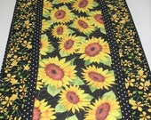 Sunflower Table Runner,  quilted, handmade, wall hanging, door hanger, leaves and pumpkins, Thanksgiving, Reversible