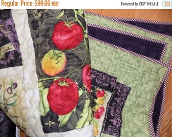 Sale Christmas in July Vegetable Garden handmade lap quilt 55 x 72
