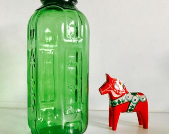 vintage green glass juice water bottle 32oz