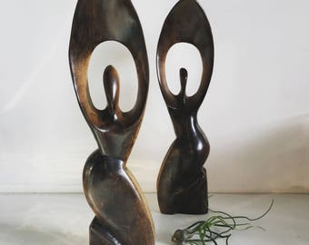 Vintage Abstract Wood Carved Sculptures