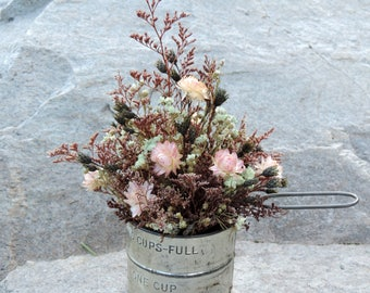 Dried Flower Floral Arrangement in Antique Measuring Tin Cup with Handles Strawflowers Caspia Achelia of Pearl Pods Farmhouse Chic Rustic
