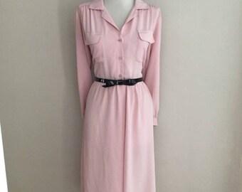 Vintage 50s Style Dress / Vintage Secretary Dress / Shirt Dress /Pin Up Dress/ Pink Long Sleeve Dress /  Full Skirt Day Dress / Mad Men