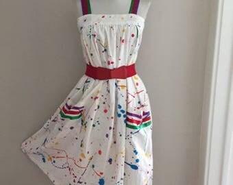 Vintage 80s Sun Dress / 1980s Vintage Rainbow Dress / RETRO Paint Splash Dress /Pin Up Dress/ Sleeveless Dress