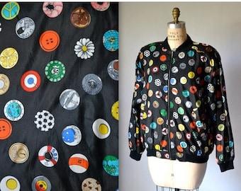 SALE 90s Vintage Black Silk Bomber Jacket by Nicole Miller Polka Dot Pop Art//Vintage Bomber Jacket with Poker, NYC, Chocolate Medium Large