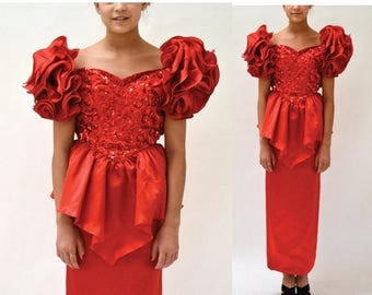 SALE 80s Vintage Prom Dress Red Sequin Dress XXS XS// 80s Prom Dress // Vintage Red Sequin Evening Gown Xxs Pageant Dress By Mike Be