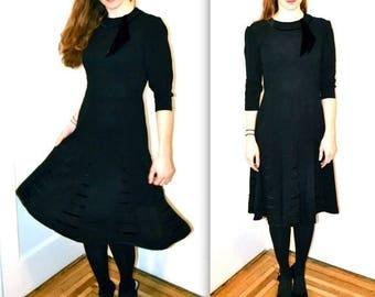 SALE 1940s Vintage Black Dress Size Small By Encore Original // Vintage 40s Black Party Dress Size Small Encore