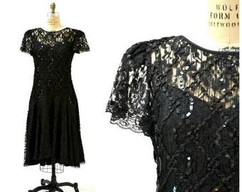 SALE Vintage Black Dress Lace and Sequin Dress Size Large XL// 80s Prom Dress Dress Size Large XL Black Lace Party Dress