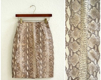 SALE Vintage Leather Skirt Snake Skin Python Embossed leather skirt By Michael Hoban North Beach Leather Size XS Small