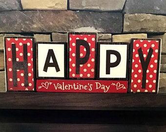 Valentine's wood blocks-Happy Valentine's Day(polk dot)