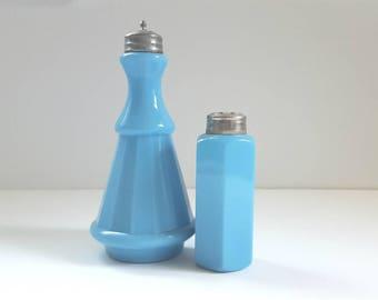 Turquoise Blue Milk Glass, Vintage Chalaine Blue Glass, Antique Milk Glass Shakers, Opaque Blue Glass Bottles