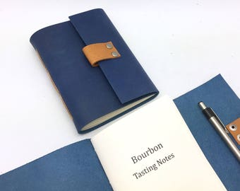 Blue Bourbon Tasting Journal - Full Grain Leather - In Stock